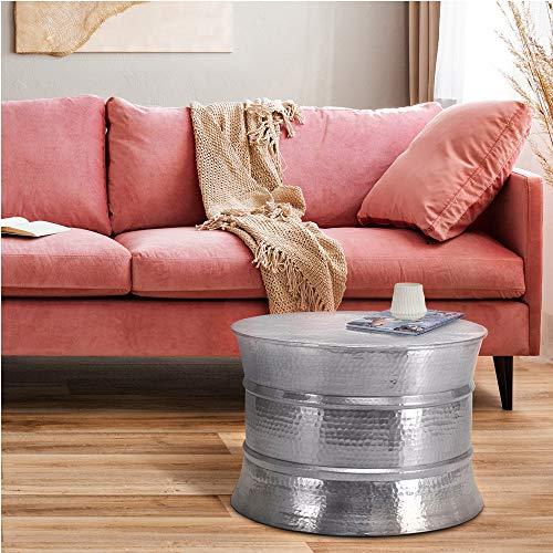 WOMO-DESIGN Mesa de Centro Hecha a Mano Estilo Oriental Redonda Ø 62x33 cm Plateada de Aluminio - Mesita para salón diseño Martillado Plano de Metal - Tabla Auxiliar para Tomar el café y té