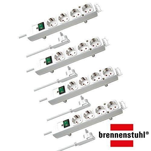 Brennenstuhl Comfort-Line Plus, Steckdosenleiste 4-Fach (mit Flachstecker, Schalter, 2m Kabel und extra breite Abstände der Steckdosen) Farbe: weiß   4 Stück