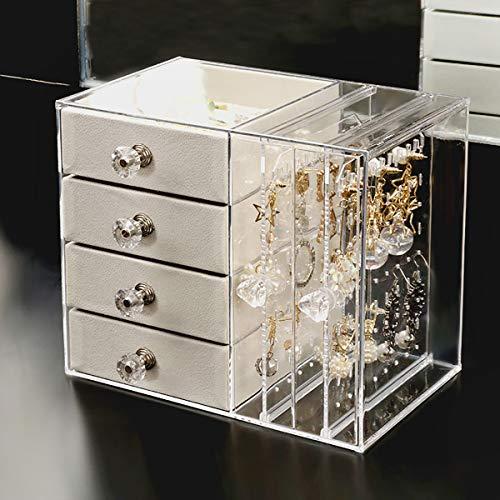 Caja de joyería de acrílico, organizador de joyería transparente para pendientes, anillos, pulseras, collares, soporte de exhibición con 4 cajones, Baige