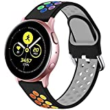 LEOMARON Replacement Bands for Samsung Galaxy Active/Active 2 40mm&44mm/ Galaxy Watch 42mm/Samsung Gear s2/GizmoWatch, Universal 20mm Width Silicone Sport Breathable Watch Straps Black/Rainbow