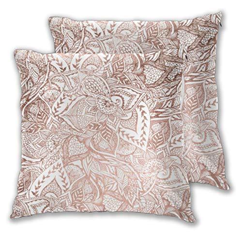 Juego de 2 fundas de almohada cuadradas modernas dibujadas a mano en oro rosa floral Boho Mandala hogar decoración suave fundas de cojín para dormitorio, sofá sala de estar 45 x 45 cm
