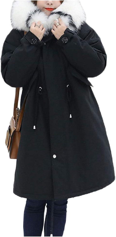 Ruhuao Women Drawstring Fur Faux Hooded PlusSize Down Parka Puffer Jacket