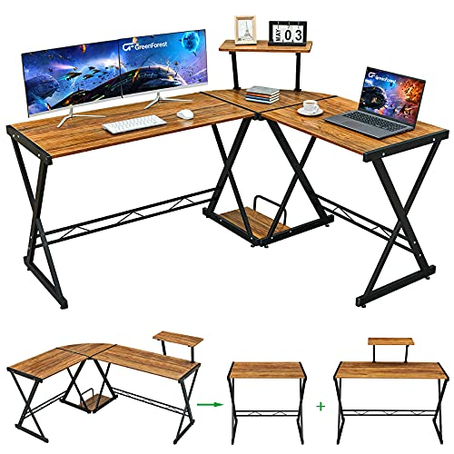 GreenForest L Shaped Desk with Moveable Shelf, 58