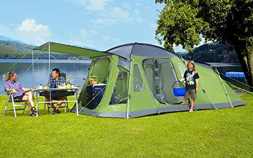 BERGER Familienzelt Otario 5 Deluxe Gruppenzelt Tunnelzelt WS5000mm Zelt Camping Kuppelzelt grün