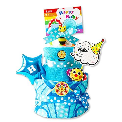 ベビーアルテ おむつケーキ Sassy (サッシー) ポップスター 3段 おむつケーキ タオル付 おもちゃ付 男の子 女の子 【おむつ:パンパースSサイズ】【カラー:ブルー】