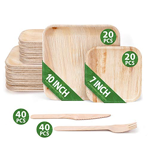 """120 Pack of Square Disposable Palm Leaf Plates Set - 40 Plates 7"""" & 10"""" & 40 Forks 40 Knives - Sturdy & Elegant - Perfect for BBQs Camping Party Home Use - Biodegradable & Compostable - by Eko Future"""