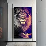 ZHJJD Llion King Wild Animal Canvas Painting Poster Modern Saesthetics Impresiones Imagen Arte de la Pared Hogar Sala de Estar Dormitorio Decoración 60x80cm Sin Marco