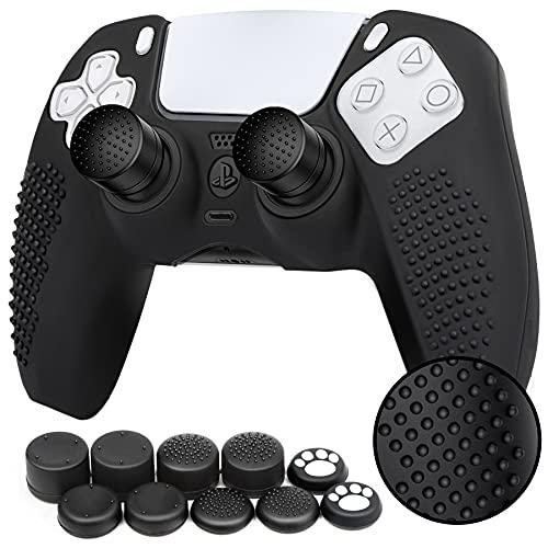 Benazcap Coque pour Manette PS5 DualSense,Housse Manette PS5 en Souple Silicone Cover,Accessoire de Étui Protection PS5 Manette Non-Slip,avec Poignée de Pouce x 10,Noir