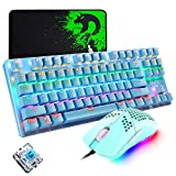 Mechanical Gaming Keyboard, Programmable 6400DPI Ultra-Light Honeycomb Coal Game Mouse, Mice Pad, Blue