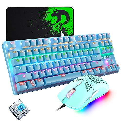 Kabelgebundene Tastatur- und Mauskombination, 87 Tasten Computer Blue Switch Mechanische Spieletastatur Regenbogenbeleuchtet, 6400 dpi leichte Maus, kompatibel mit PC Windows Mac PS4 XBox