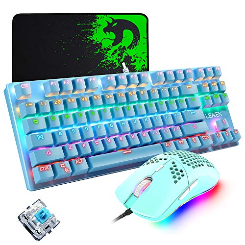 Mechanical Gaming Keyboard, Programmable 6400DPI Ultra-Light Honeycomb Coal Game Mouse, Mice Pad,...