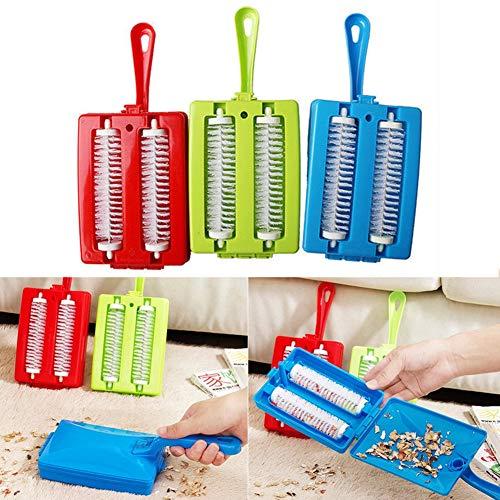 PUAK523 Teppich-Schmutzbürste, multifunktional, handlich, doppelt, Kehrmaschine, Sofa, Teppich, Krümelstaub, Haarreinigungsbürste, Auffangrolle (zufällige Farbe)