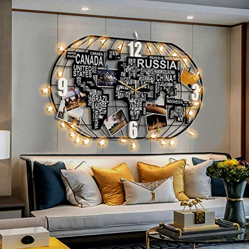 Weltzeituhr Wanduhr, Dekoration Hängende Uhr 3D Weltkarte Kunst Schwarze Uhr mit Led Light Crafts, Weltkarte Metall Wanddeko für Wohnzimmer, Schlafzimmer, Büro, Kaffee,78 * 41cm