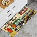 ZORMIEY Tapis Cuisine Antidérapant Tapis,Rustic US Route 66 Beach Palm Tree Vintage Car,Lavable en Machine Tapis de Bain Paillasson Tapis de Sol Cuisine 45x120cm