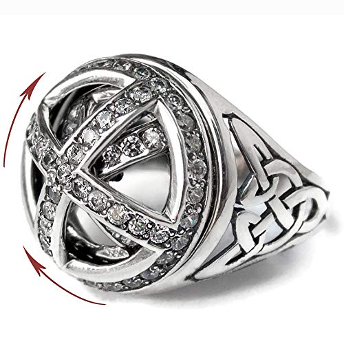 Celtic Knot Signet Ring with Spinner 925 Sterling Silver Rotating Trinity Medieval Crusader Vintage Style Statement Rings Viking Jewelry (8.5)