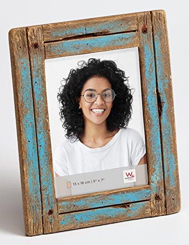 walther design Dupla Portraitrahmen 13x18 cm, blau/natur
