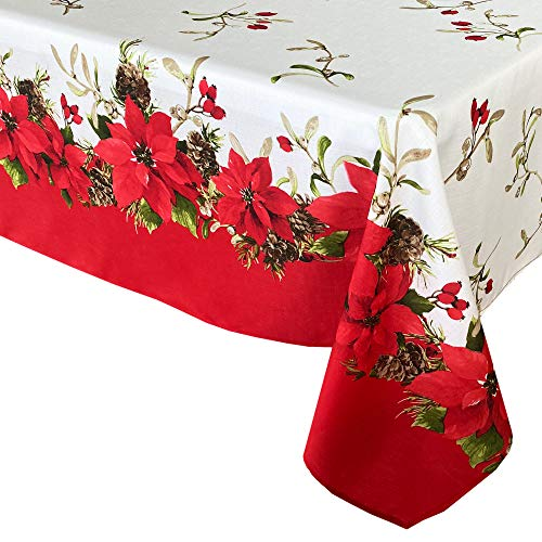 Newbridge Blooming Poinsettia's Double Bordered Christmas Fabric Tablecloth, Traditional Red and White Poinsettia Print Easy Care, Stain Release Tablecloth, 60 Inch x 84 Inch Oval