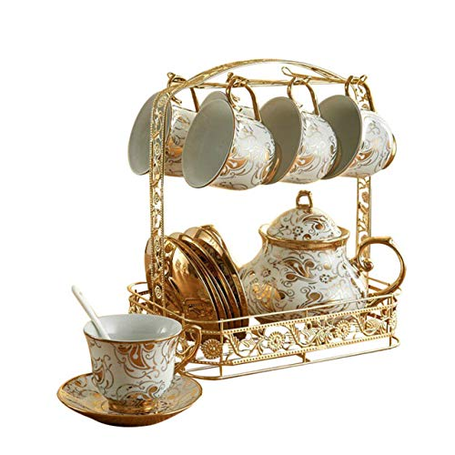 Copa De Vino Taza De Café Taza15Pcs/Set European Royal Ceramic Coffee Tea/Mug Set Household Water Cup Included 6 Cups 6 Saucer 1 Holde