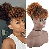 YITI High Puff Afro Ponytail Drawstring with Kinky Curly Bangs Short Afro Kinky Curly Pony Tail Clip in on Synthetic Curly Hair Bun Puff Ponytail Wrap Updo Hair Extensions with Clips(A-T1B/30#)