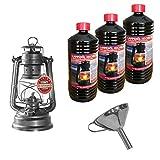 Feuerhand Sturmlaterne verzinkt 276 Baby Special 276 mit Edelstahl Trichter zum leichten Befüllen und 3 Liter hochreines Lampenöl