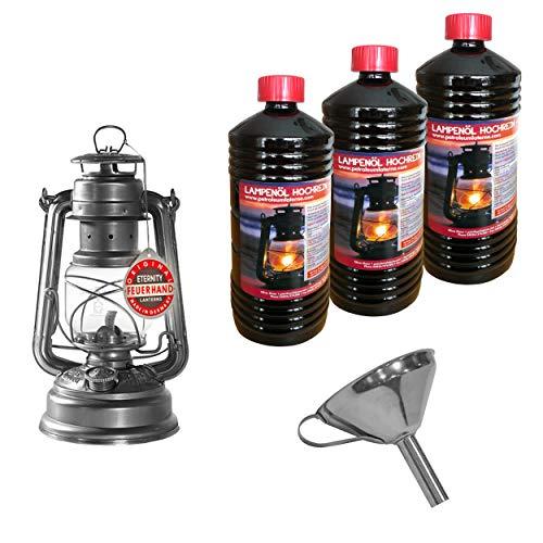 Feuerhand Petroleumlaterne verzinkt Mod. 276 + Edelstahl Trichter zum leichten Befüllen und 3 Liter hochreines Lampenöl für die Sturmlaterne