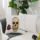Kissenbezug Polyester Kissenhülle Dekorative,Gothic Dekor, Totenkopf mit trockener roter Rose in...