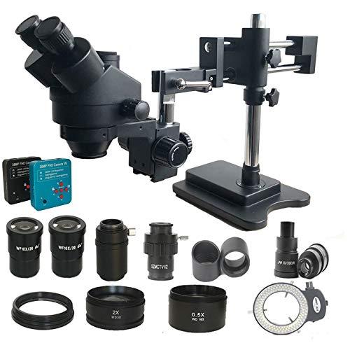 GYW-YW Lente 3.5x-180x Doble Boom Simul Focal Trinocular Microscopio Estéreo Soldadura Industrial 38MP HDMI USB Microscopio Video Herramientas (Color : Black, Magnification : 3.5X 180X)