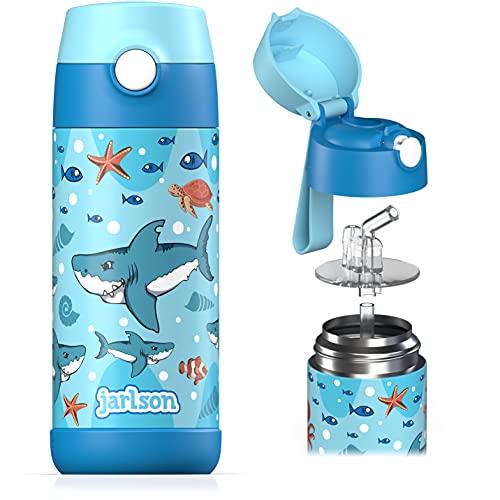 Jarlson Botella Agua sin bpa niños, Botellas Agua Acero Inoxidable - termica, a Prueba de Fugas, para la Escuela y Deportes, el Termo, 350 ml
