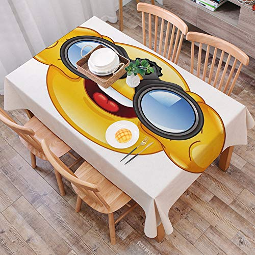 Tischdecke abwaschbar 140x200 cm,Emoji, Smiley-Gesicht mit einer Teleskop-Fernglas-Brille, die draußen Cartoon-Druck, Gelb und Blau ,Ölfeste Tischdecke, geeignet für die Dekoration von Küchen zu Hause