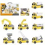 WAQB XL Desmontar vehículos de construcción, Licuadora, Excavadora-8 Piezas Set de construcción Stem - Kit de ingeniería para niños, niñas y niños pequeños