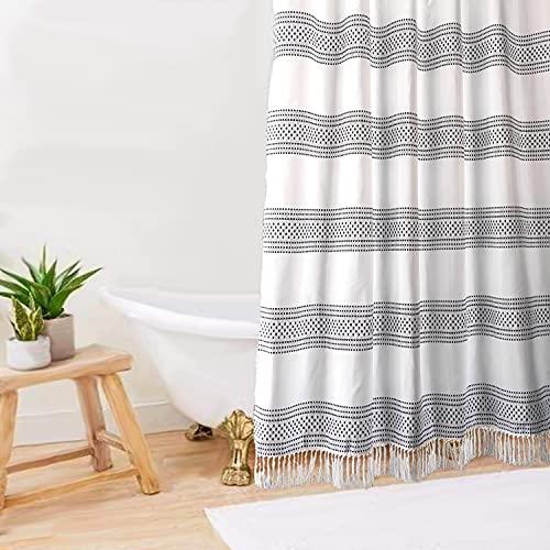 Boho Farmhouse Shower Curtain / Black and White Boho Farmhouse Shower Curtain / Standard Size 72x72 Boho Farmhouse Shower Curtain / Hooks Included with Black and White Boho Farmhouse Shower Curtain