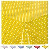 Home Direct Tovaglia in Tela Cerata plastificata Rettangolare 140 x 180cm Pois Piccolo (Giallo)