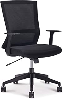 Sunon Office Chair Mid-Back Adjustable Height Ergonomic Mesh Chair with Lumbar Support and Fixed Armrests, Computer Desk Chair for Home Office Conference Room, Black