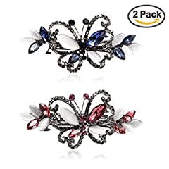 """2 Pack Crystal Butterfly Hair Barrettes. Materials: Alloy, Rhinestone Size: approx 3"""" inch, it's a perfect size for the most Nice accessories to integrate jewelry case for girls and collectors. Beautiful delicate hair clips, very attractive. Suitable..."""