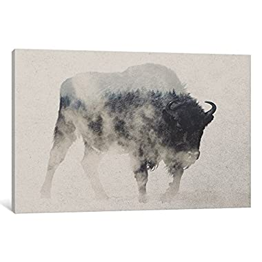 ART ALE166-1PC3-12x8 Bison in The Fog Gallery Wrapped Canvas Art Print by Andreas Lie, 8  X 0.75  X 12