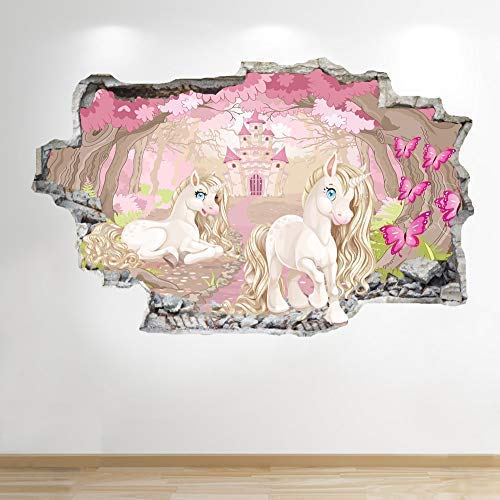 1Stop Graphics Shop UNICORN WALL STICKER 3D LOOK - BOYS GIRLS BEDROOM ENCHANTED WALL DECAL Z882 Size: Large
