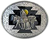 Hebilla con lobos y luna disco, lobo, lobos, suroeste