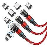 Cable de carga magnético (3 unidades, 1 m+1 m+2 m), CJOY Cargador magnético para teléfono de carga rápida 3 en 1 con cable magnético de transferencia de datos para tipo C, micro USB e iProduct