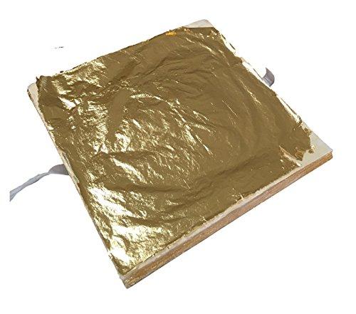 Meyerle24-Goldprodukte 100x BLATTGOLD 14x14cm – Premium Blatt-Metall Gold Hochglänzend – zum Vergolden Basteln Verschönern auf Wände, Gegenstände, Möbel usw. – einfach zu verarbeiten - 1,96m²