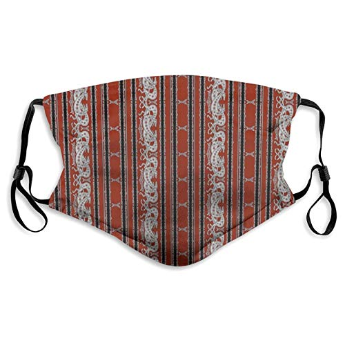 LAVYINGY Neck Gaiter Mask with Filter Neck Wrap UV Cover Balaclava Celtic Greyhound Dogs Burgundy and Grey