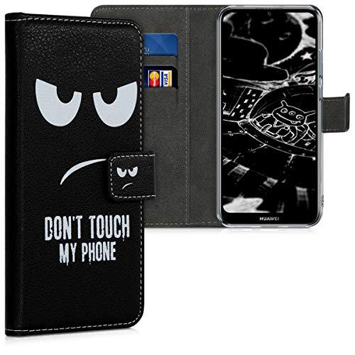 kwmobile Hülle kompatibel mit Huawei Y6 (2019) - Kunstleder Wallet Hülle mit Kartenfächern Stand Don't Touch My Phone Weiß Schwarz
