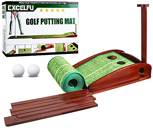 EXCELFU Putting Mat Golf Green for Indoor and Outdoor with Auto Ball Return, Crystal Velvet Mat and...