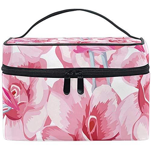 Sac cosmétique, Flamant Rose et Roses Voyage Organisateur de Maquillage Sac cosmétique étui de Train Portable pour Femmes Filles