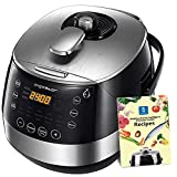 Aigostar Happy Chef 30IWY - 7 in 1 multi-cooker, 900W, 15 programmable functions with large inclined LED screen, timer and keep warm function. 5 liter non-stick container with handle