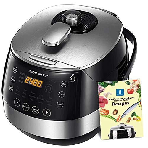 Aigostar Happy Chef - 7 in 1 Programmierbare Elektrische Schnellkochtöpfe,Edelstahl Multikocher, Digitaler Reiskocher und Dampfgarer Kochtopf, 24 Stunden Timer, 5L, 900W.