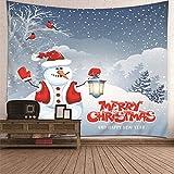 Beydodo Tapiz de Pared Colgante,Monigote de Nieve y Lámpara Merry Christmas Gris Blanco Rojo Tapiz Pared Poliester Tapiz Etnico 210x140CM