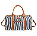 Canvas Leather Holdall Shoulder Handbags VANORIG Duffles Travel Carry On Bags Stripe Weekend Totes Bag Top Handle HandbagsHandbags Cross Body Shoulder Bags,Pack of 1 (Large, Blue Stripe)
