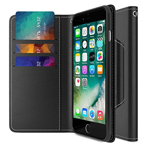 iPhone 7 Plus Wallet Case, Maxboost [Folio Style] Premium 7 Plus Card Cases Stand Feature for Apple iPhone 7 Plus 2016 [Black] Protective PU Leather Flip Cover with Card Slot+Side Pocket Magnetic