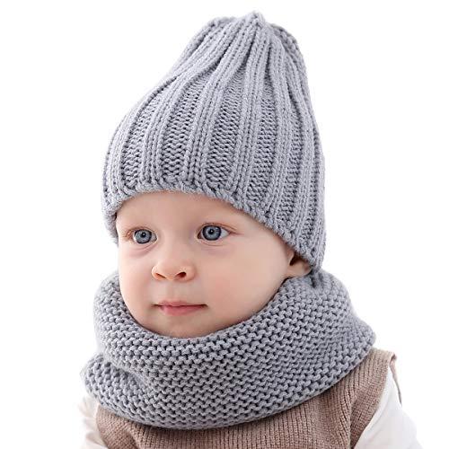 ROSEBEAR Maluch dziecko zimowa dzianinowa czapka apaszka zestaw ciepły czysty kolor, dla 0-3 lat chłopców dziewcząt (szary)