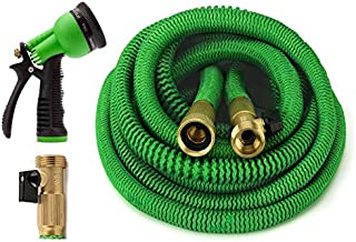 GrowGreen Garden Hose 50 Feet Expandable Hose with All Brass Connectors, 8 Pattern Spray Nozzle and High Pressure, Expanding Garden Hose